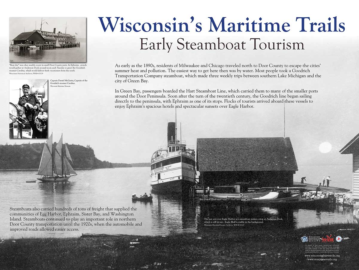 Early Steamboat Tourism Maritime Trails Marker - WI Shipwrecks